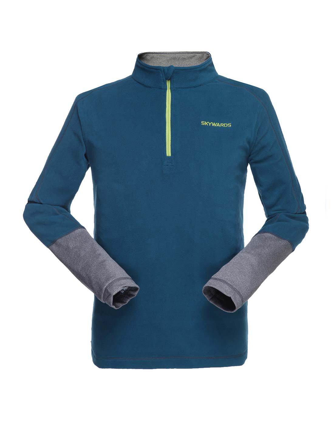 塞沃斯 男款深奧藍拼深灰半開胸抓絨衣 抗靜電防風保暖