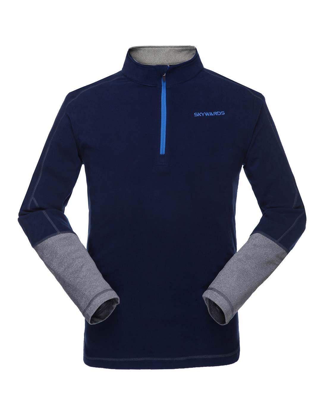 塞沃斯 男款藍黑拼深灰半開胸抓絨衣 抗靜電防風保暖