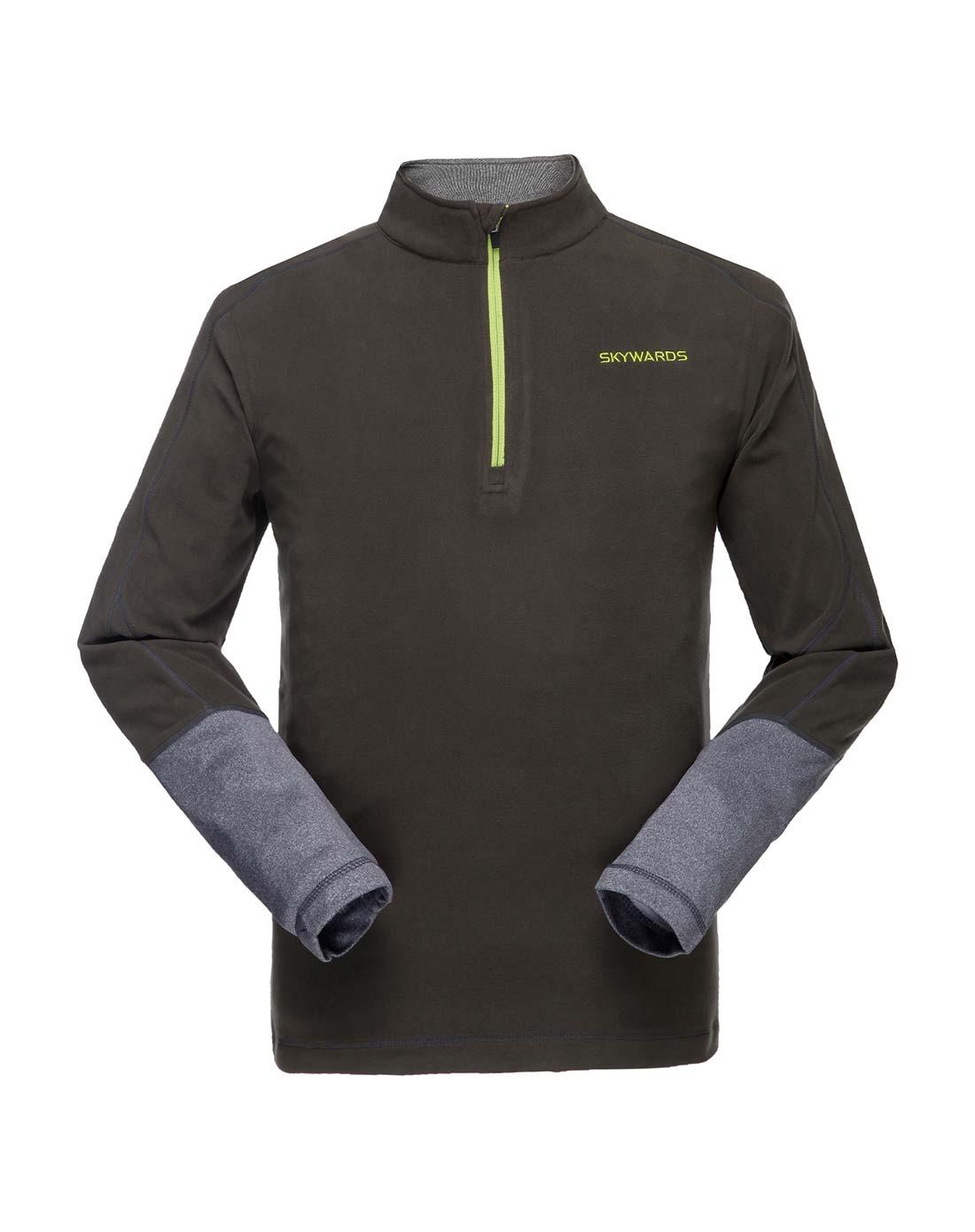 塞沃斯 男款森林綠拼深灰半開胸抓絨衣 抗靜電防風保暖