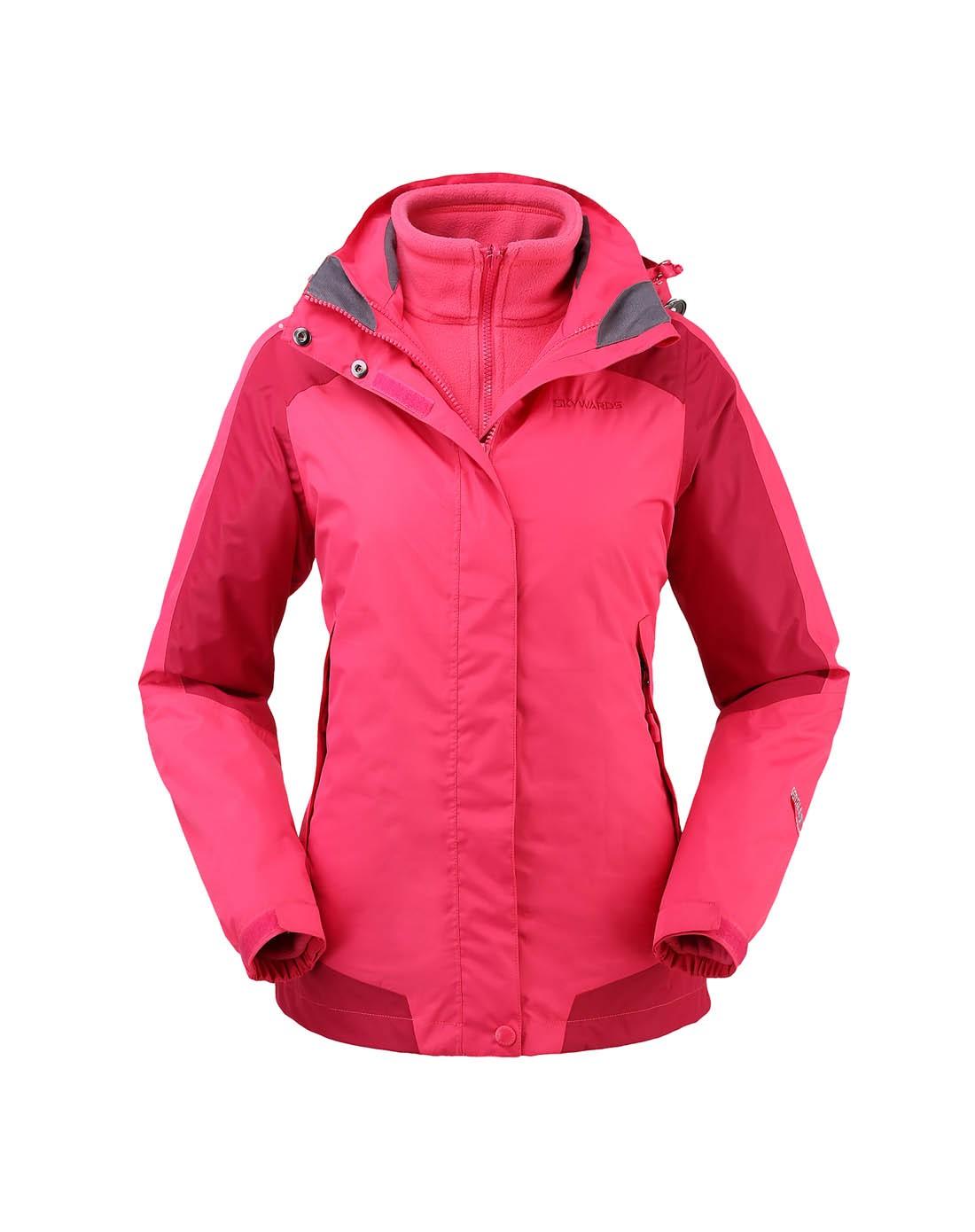 塞沃斯 女款洋紅拼果醬紫三合一沖鋒衣